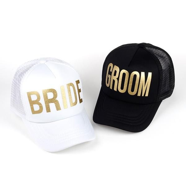 BRIDE GROOM Golden Print Bachelorette Mesh Hats Women Wedding Preparewear Trucker  Caps White Neon Baseball Cap 5e175bfb1de0
