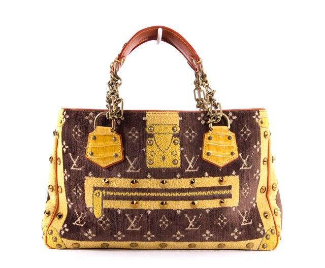 7330eb80aa6a Louis Vuitton Brown   Yellow Monogram Velvet Trompe Loeil Le Fabuleux Bag Limited  Edition