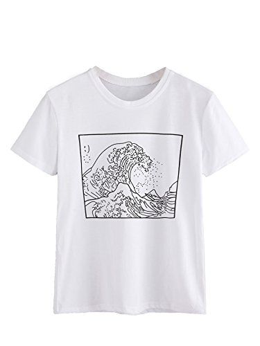 a2d66d4030d9 Tops · Clothes · Tee Shirts · ROMWE Women s Short Sleeve Top Casual The  Great Wave Off ... https