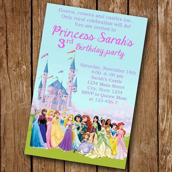 Invitación princesa Disney princesa invitación por luxuriouspixel