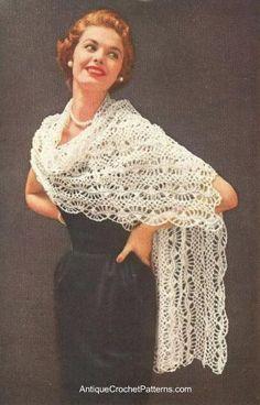 Vintage Ladies Shawl #1 CROCHET PATTERN ONLY
