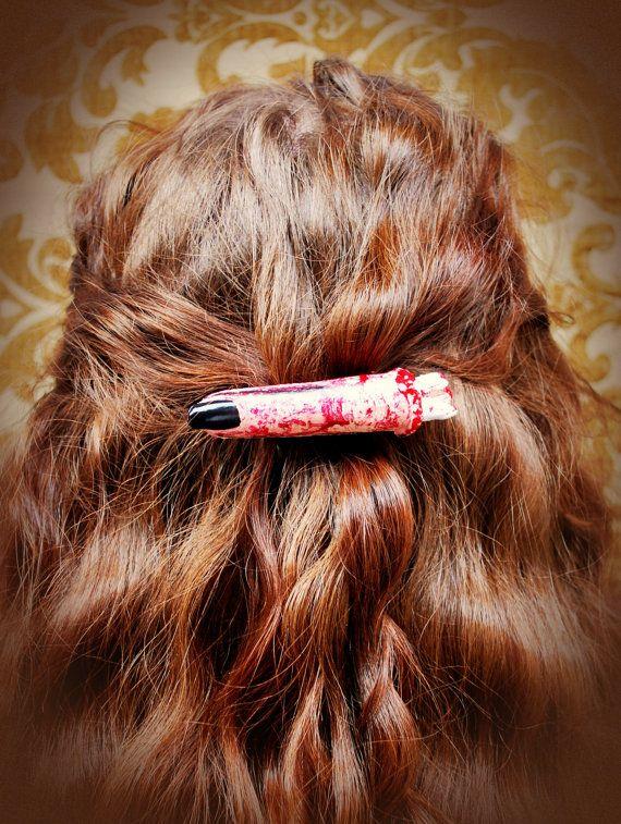 Single life sized severed finger hair barette Mad scientist