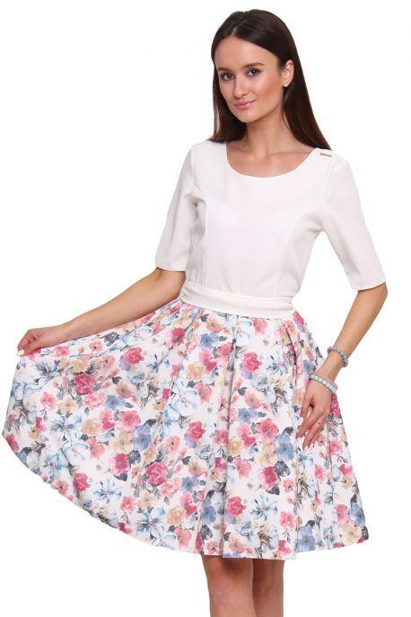 Sukienka Rozkloszowana W Kwiaty Cm469 Ecru Modne Sukienki Cosmosmoda Fashion Midi Skirt Floral Skirt