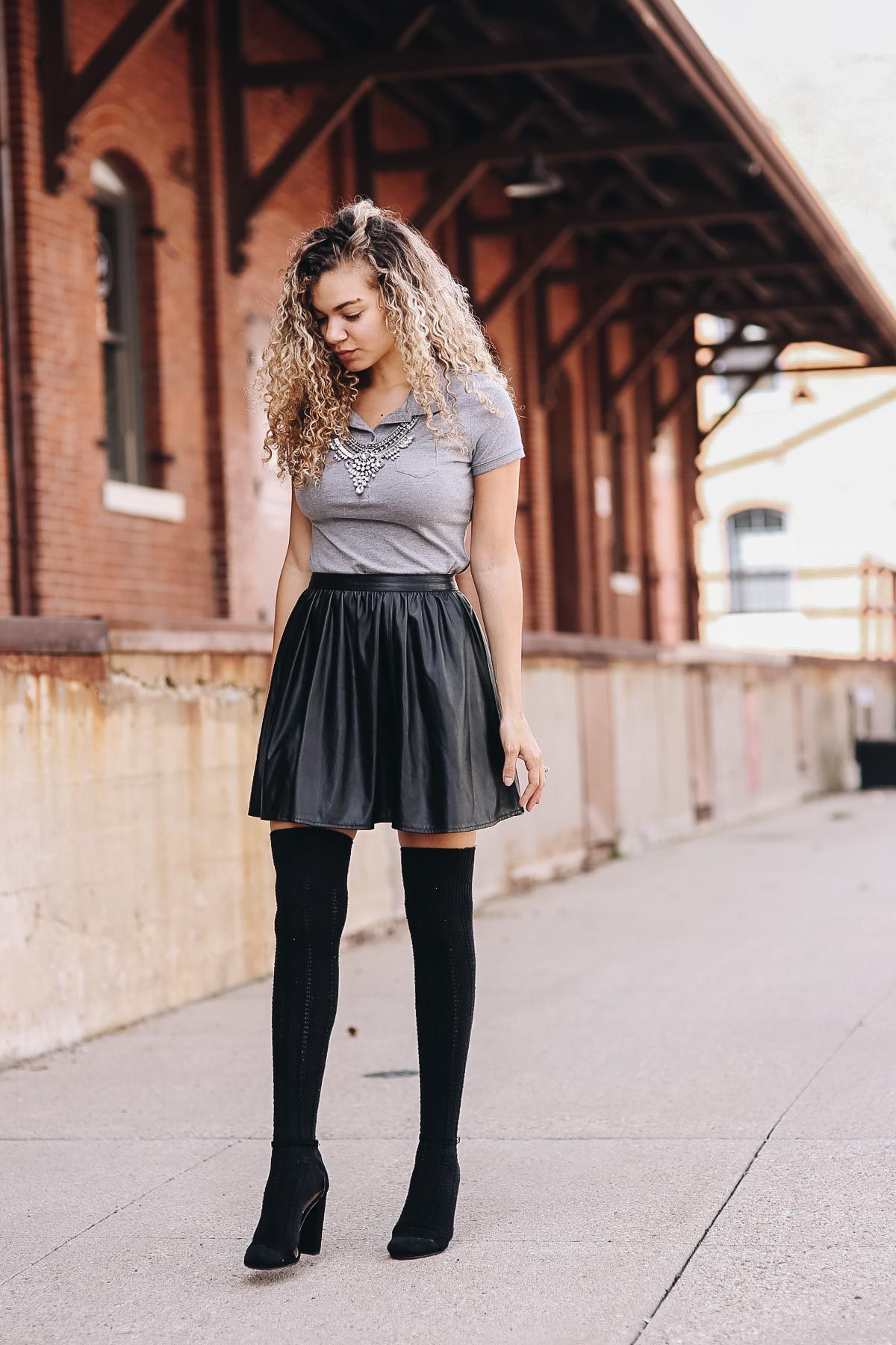 6cc1cc91ba3f polo shirt outfit with faux leather skater skirt and knee high socks