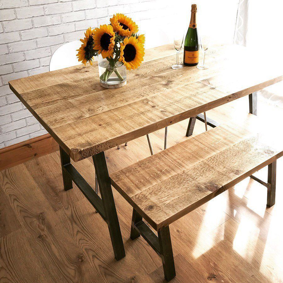 Rustic Industrial Dining Table With Steel Legs Dining Table