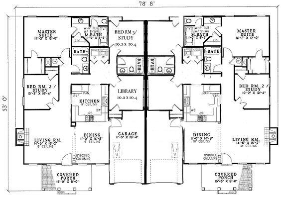 Custom Duplex Plan 4 Bedroom 3 Bath Duplex With Garage Duplex Floor Plans Duplex Plans Garage Floor Plans
