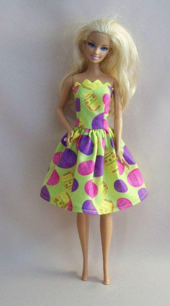 Handmade Barbie Clothes Easter Print Barbie by PersnicketyGrandma, $5.00