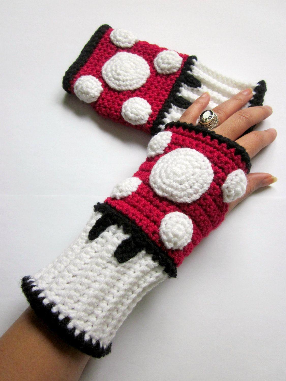Power Wristies. Mario Mushroom Inspired Wristwarmers. Video Game ...