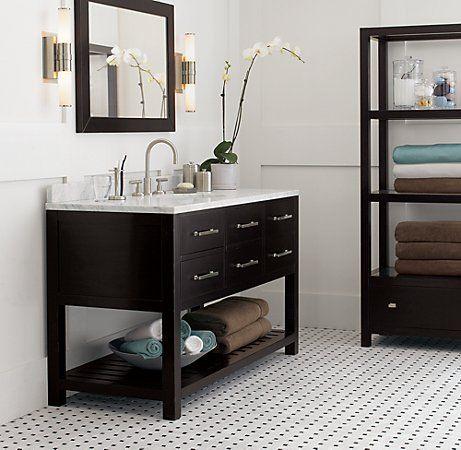 Hutton Single Extra Wide Washstand Dark Espresso Cheap Bathroom