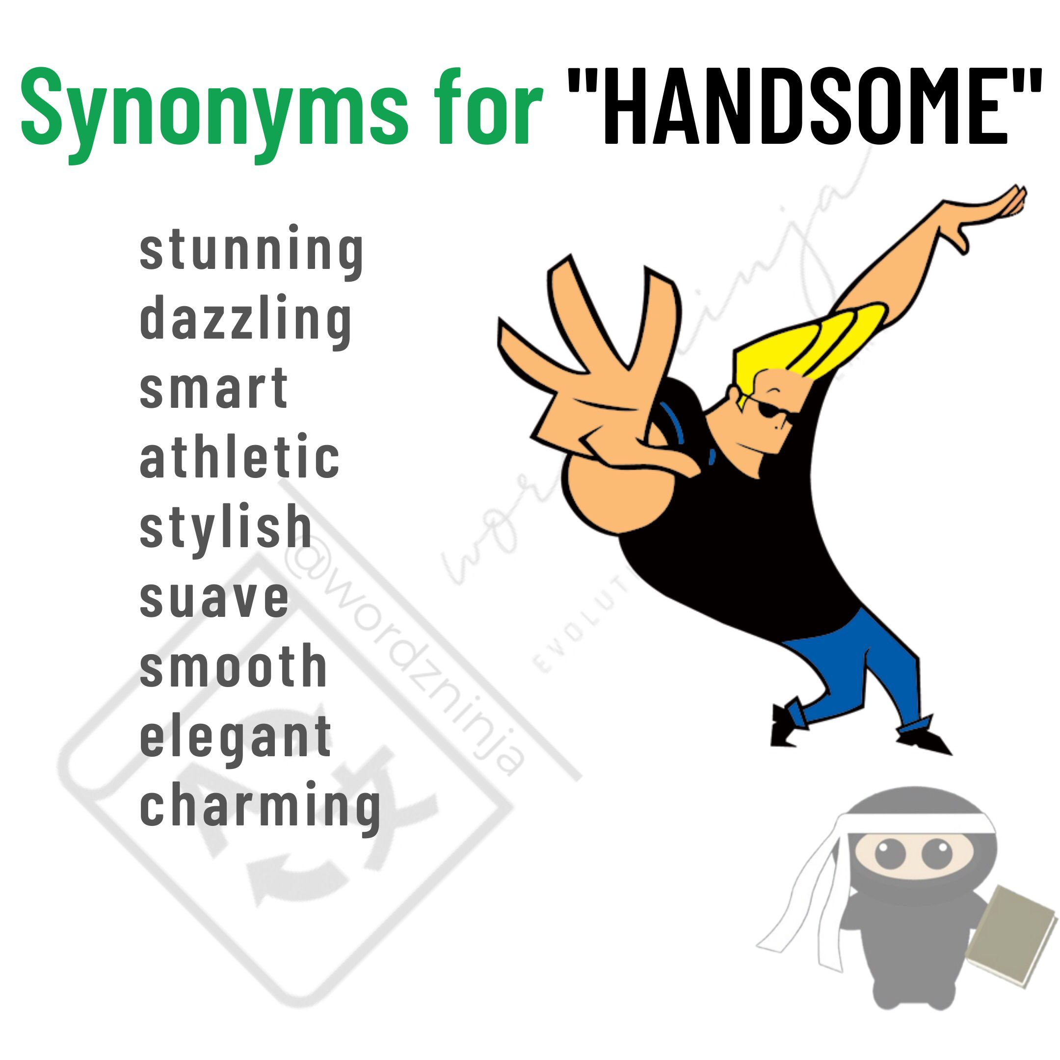 """Synonyms For """" HANDSOME""""   Good vocabulary words, Learn english ..."""