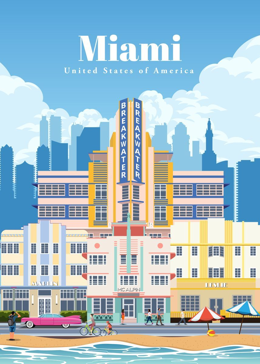 Travel To Miami Metal Poster Studio 324 Displate In 2020 Miami Posters Poster Travel Posters