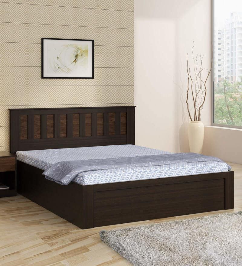 Kosmo Phoenix Queen Size Bed With Storage In Wenge Finish By