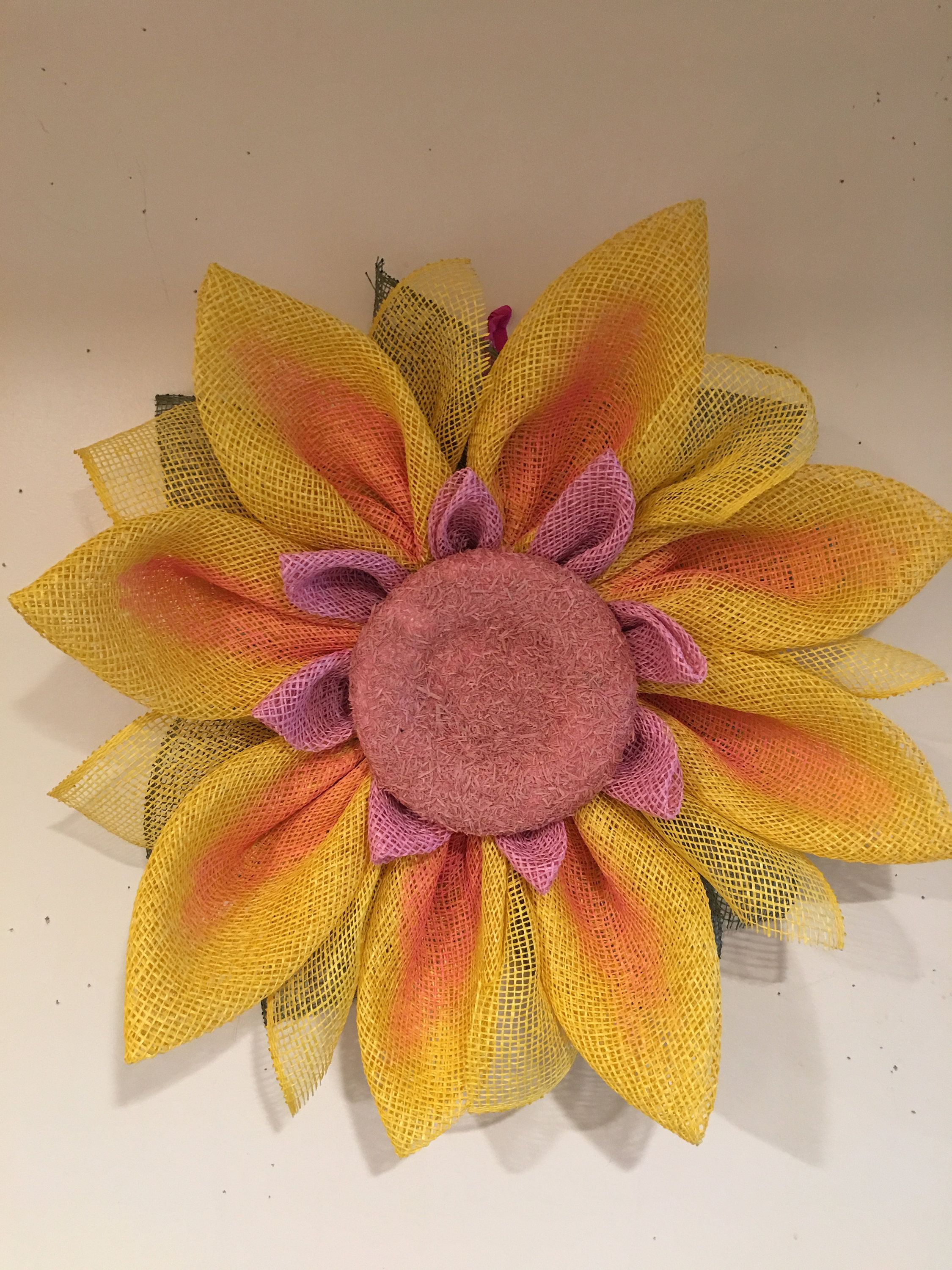 Photo of SUNFLOWER CRATE, yellow and pink wreath, floral wreath, door decor, handmade wreath, poly burlap wreath
