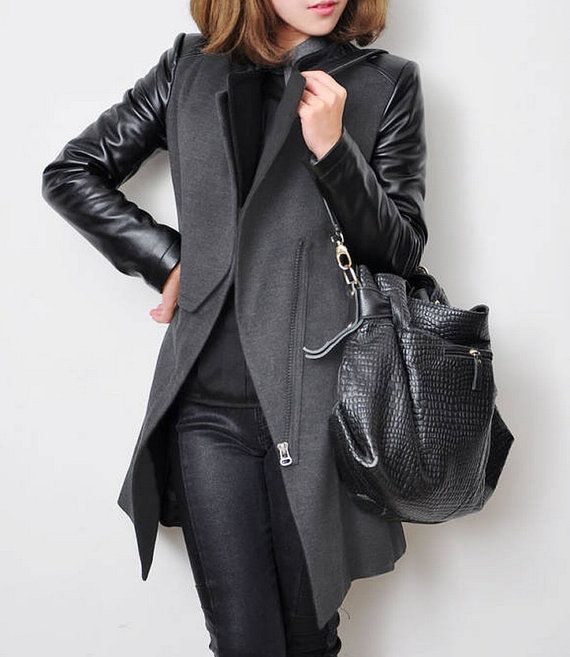 Women Grey and Black Wool coat Cashmere coat winter coat leather ...