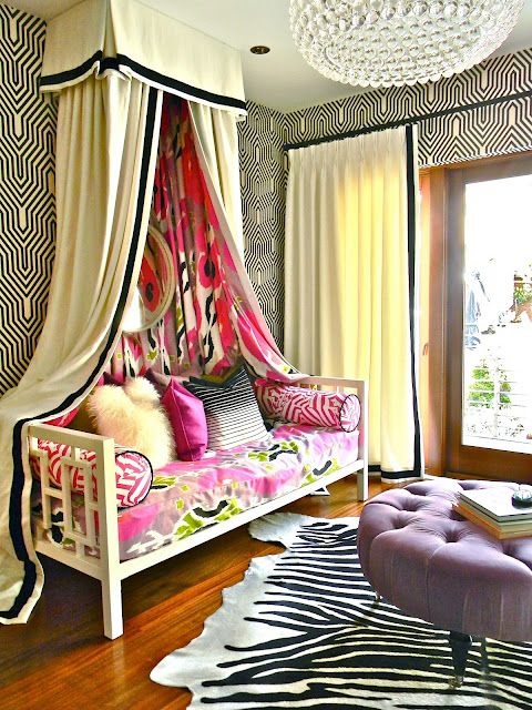 Hip girl's hangout. Draping over daybed. Pattern and color. Design by Kriste Michelini.