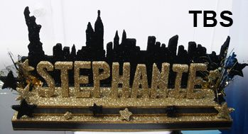 Candelabra Two Tiered Rectangular Glitter Base With Stars And New York  Skyline U0026 Glittered Name. Good For Bat Mitzvah/Sweet Candle Lighting  Ceremony.