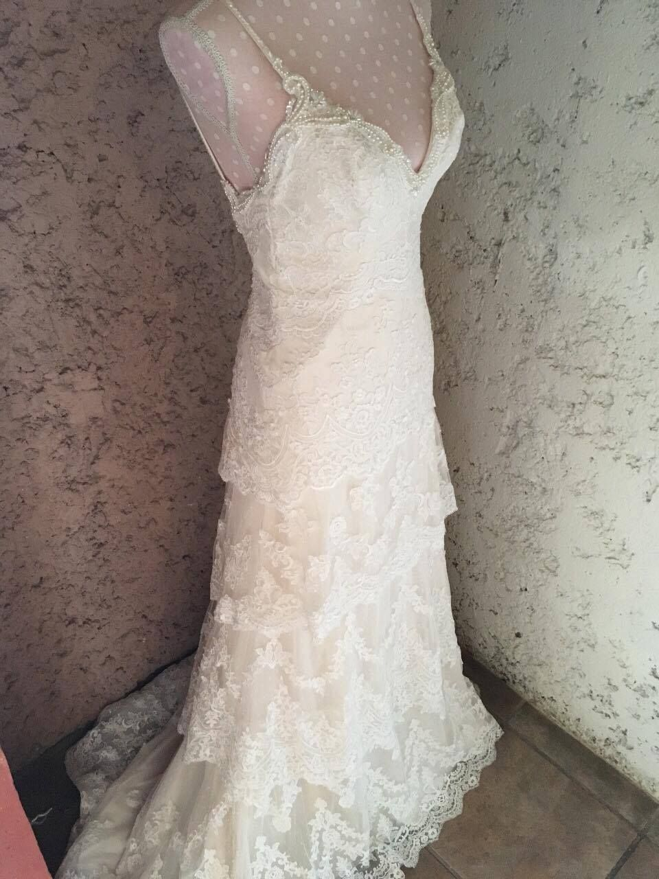 Cool amazing wedding dress ivory layers lace spanish or