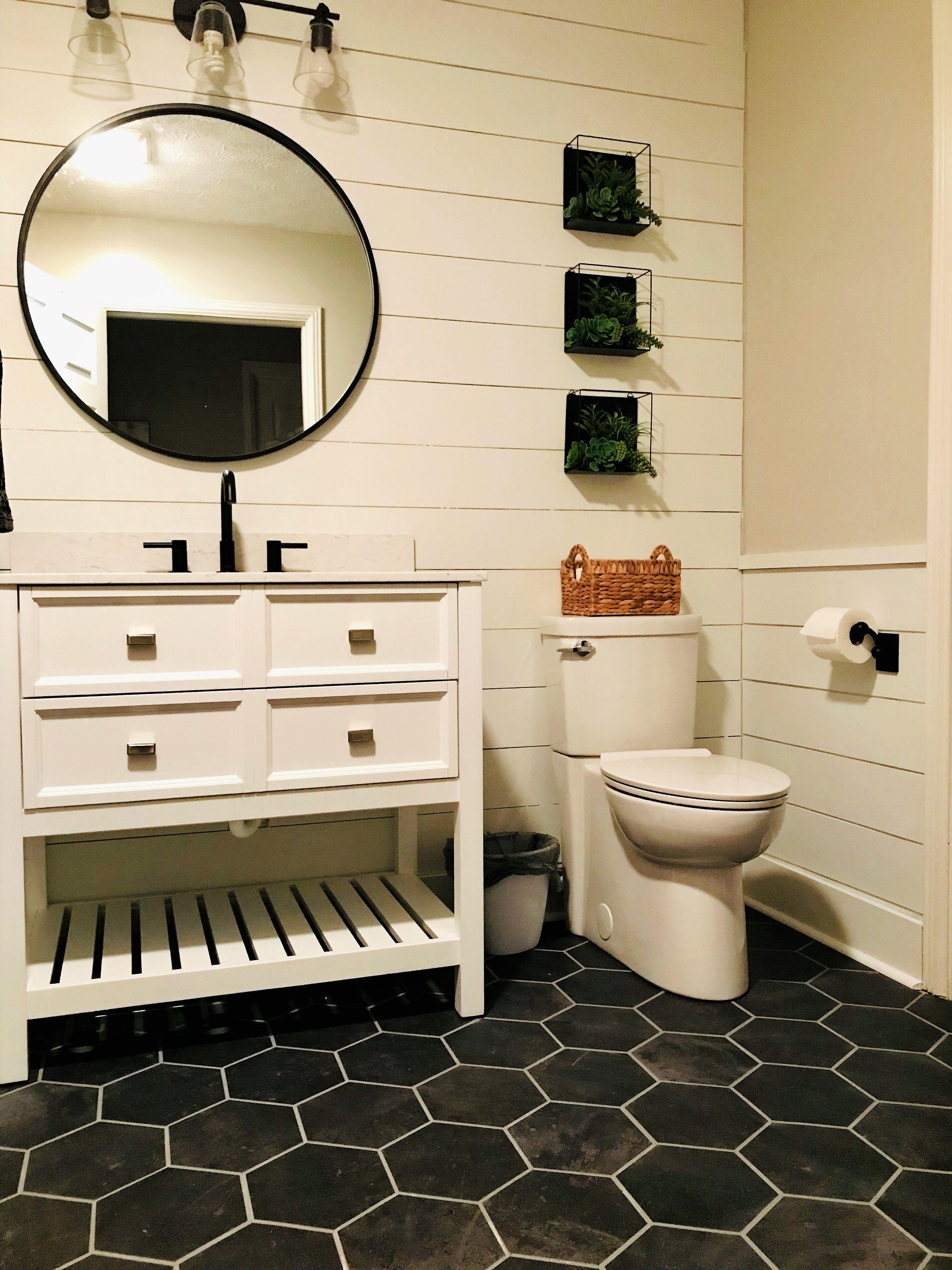 Updated Main Bathroom Peel and stick vinyl, Vinyl tile
