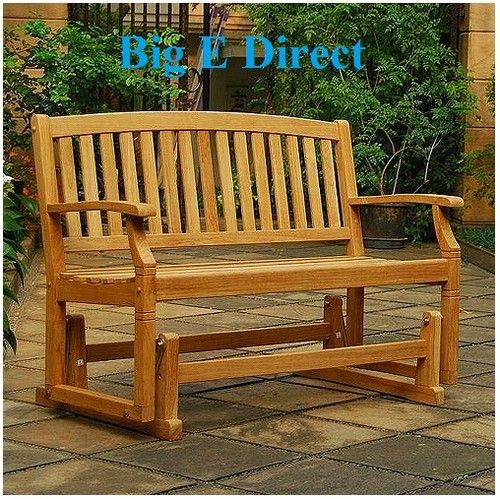 100 Teak Wood Porch Glider Swing Bench Seating Garden Deck Patio Outdoor Chair Porch Gliders
