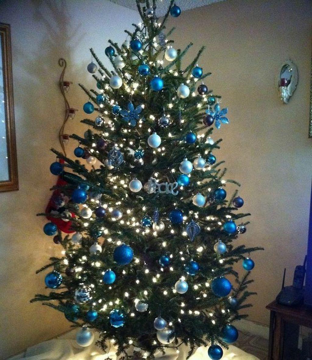 46 Elegant Blue White Christmas Decor Ideas Blue Christmas Tree Blue Christmas Tree Decorations Silver Christmas Decorations