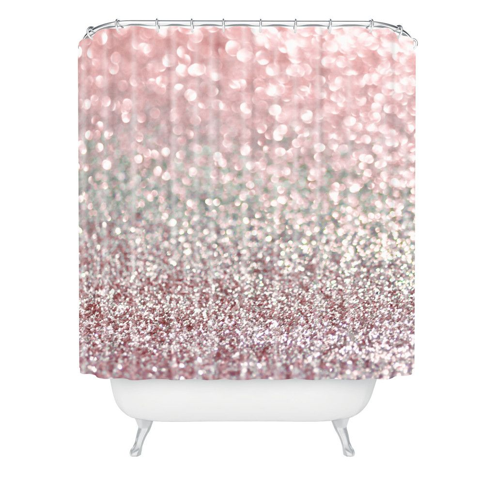 Lisa Argyropoulos Girly Pink Snowfall Shower Curtain  New