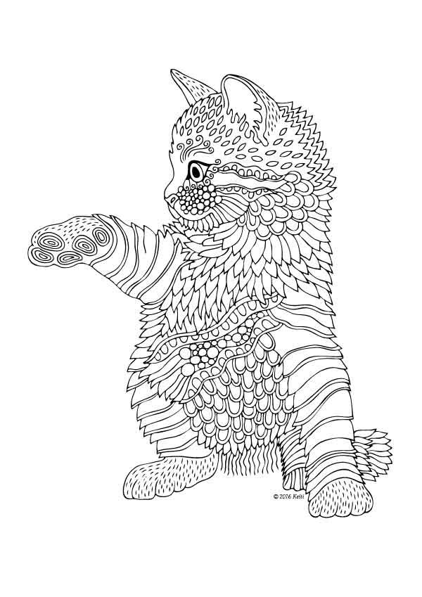 Kittens and Butterflies Coloring Book by Katerina Svozilova   - best of coloring pages black cat