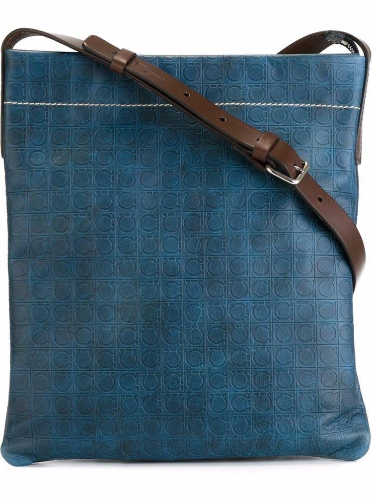94d723a3f8c2 SALVATORE FERRAGAMO Blue Leather Gancio Embossed Messenger Crossbody  Handbag  SalvatoreFerragamo  MessengerShoulderBag