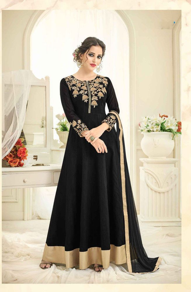 f9c796f19e33 Bollywood India Pakistan Indo Western Silk Designer New Party Wear Dress  Black #RadhaKrishnaExports #IndoWestern