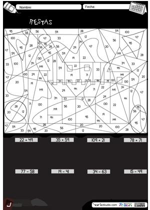 Descubre el dibujo (castill) sumas y restas ABN