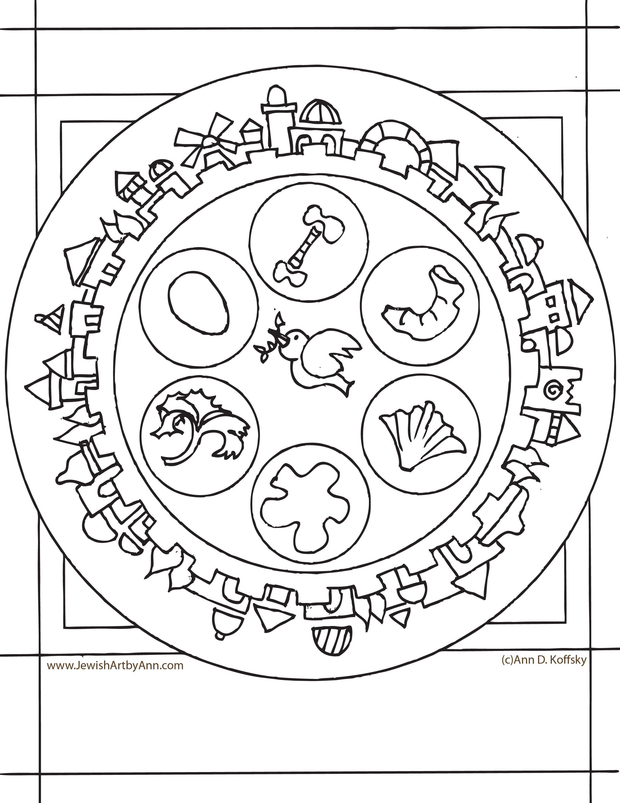 Ann Koffsky Passover Plate Coloring Page Passover Passover Seder