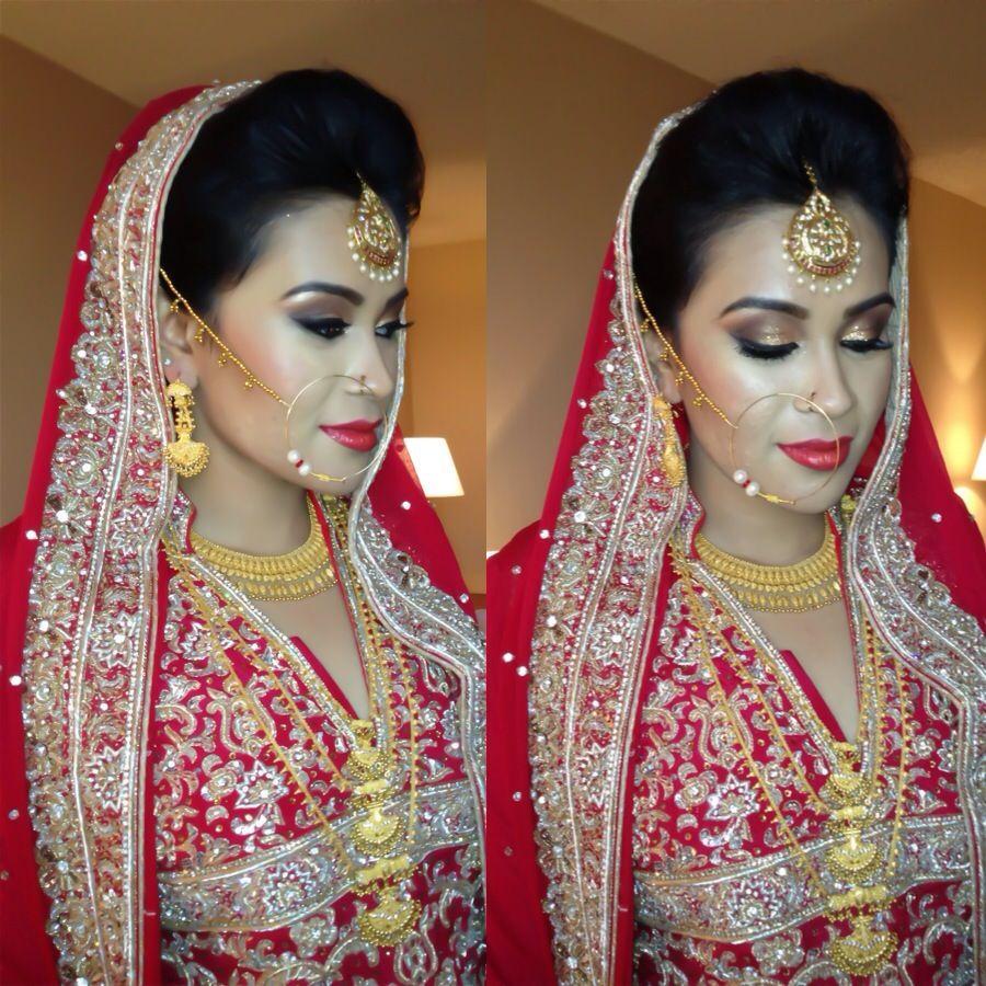 paki bridal hair, makeup and dupatta setting | bridal | pinterest