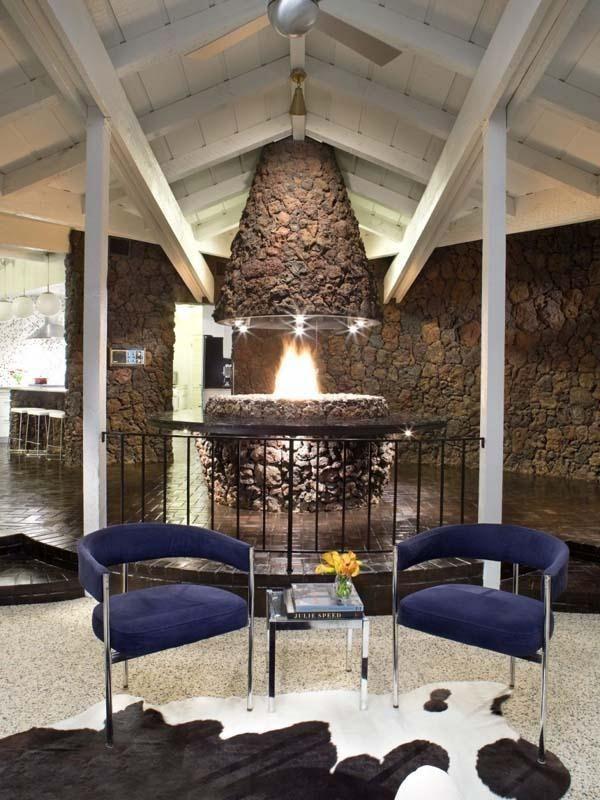 Lava rock fireplace..outdoors..nice! | Interiors: Mid Century + ...