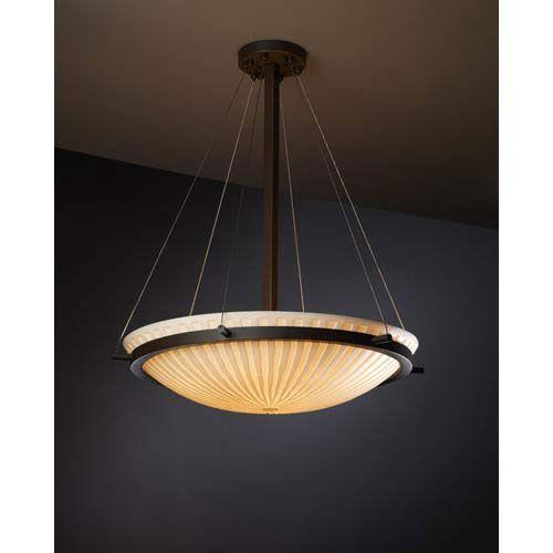 Porcelina Dark Bronze Waterfall 5000 Lumen LED Bowl Pendant Justice Bowl Pendant Lighting