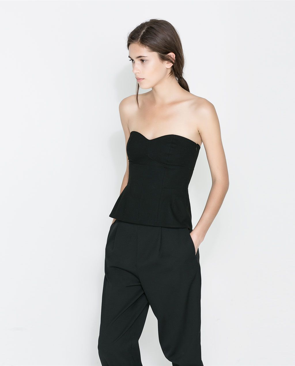 wool bustier with slouchy pants