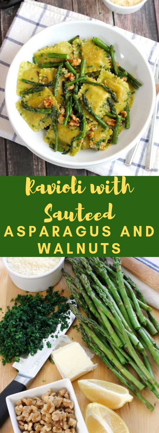 Ravioli with sauteed asparagus and walnuts #vegetarian #asparagus images