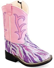 bc0b66657cf Old West Toddler Girls' Pink and Purple Western Boots - Square Toe ...
