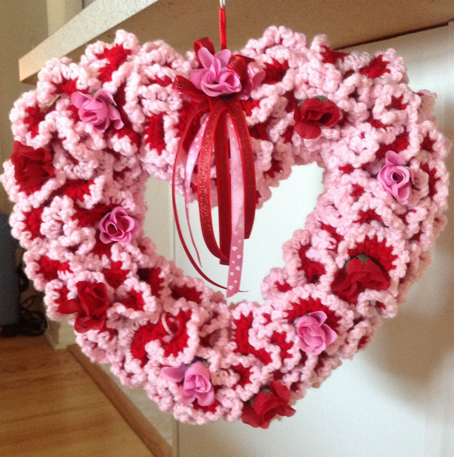 Photo of Crochet wreath I made for Valentines day