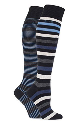 674819dd8b9 Elle Ladies 2 Pair Striped Cotton Knee High Socks 610 Black Lakeland Blue  -- Click on the image for additional details.
