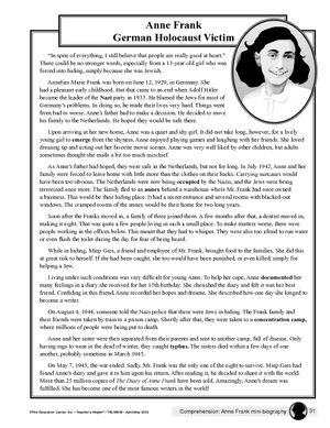 009 Passage and Worksheet Anne Frank Anne frank, 7th grade