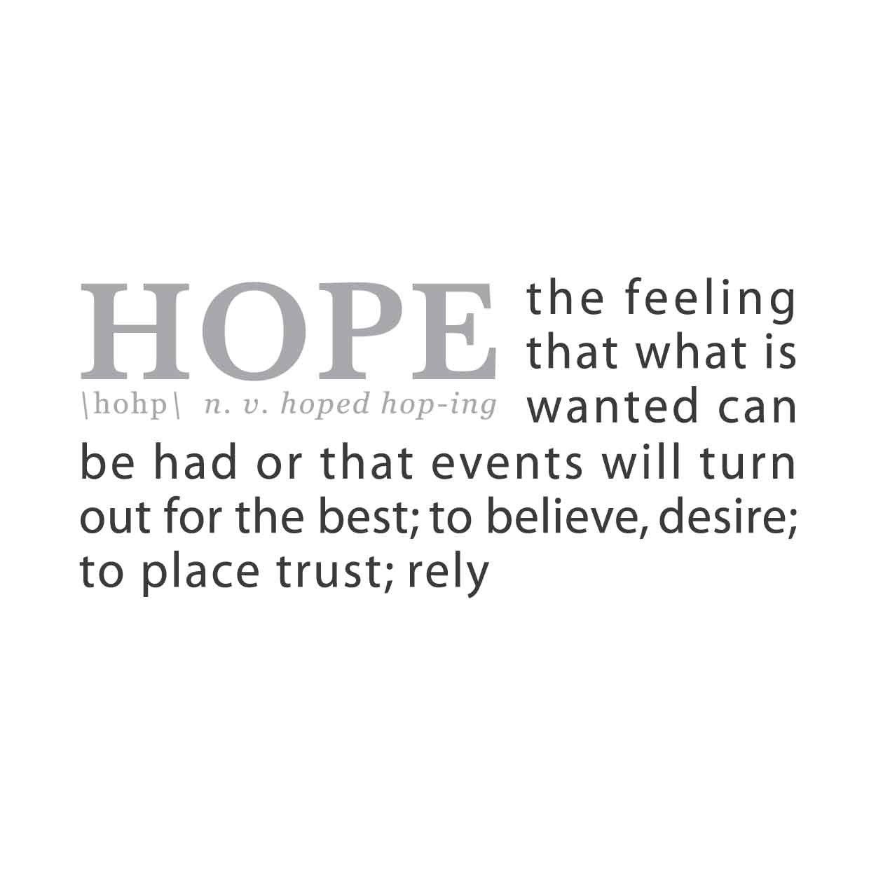 wall quotes wall decals - HOPE: A Definition | Stress ...