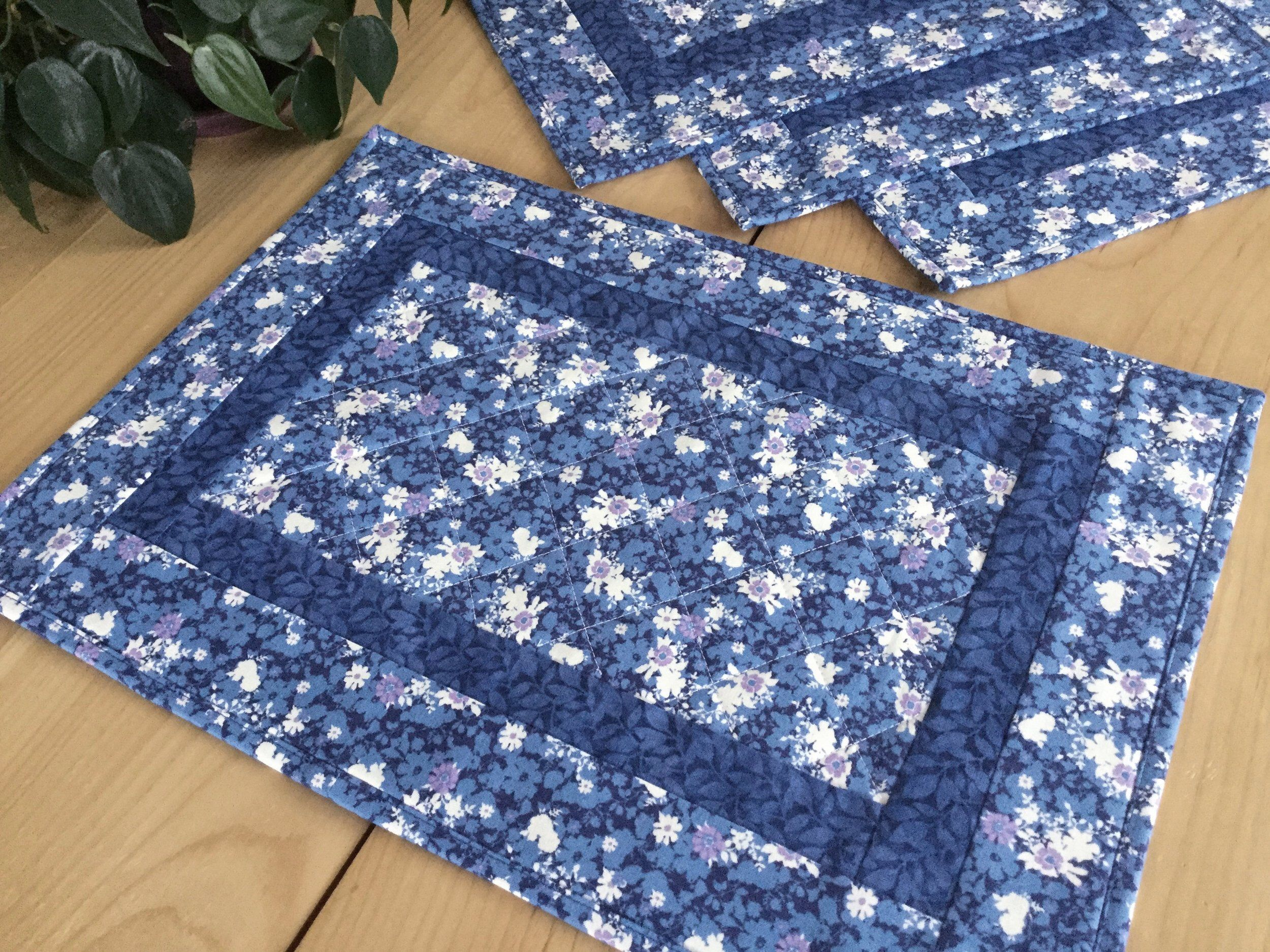 Quilted Blue Set Of 4 Placemats