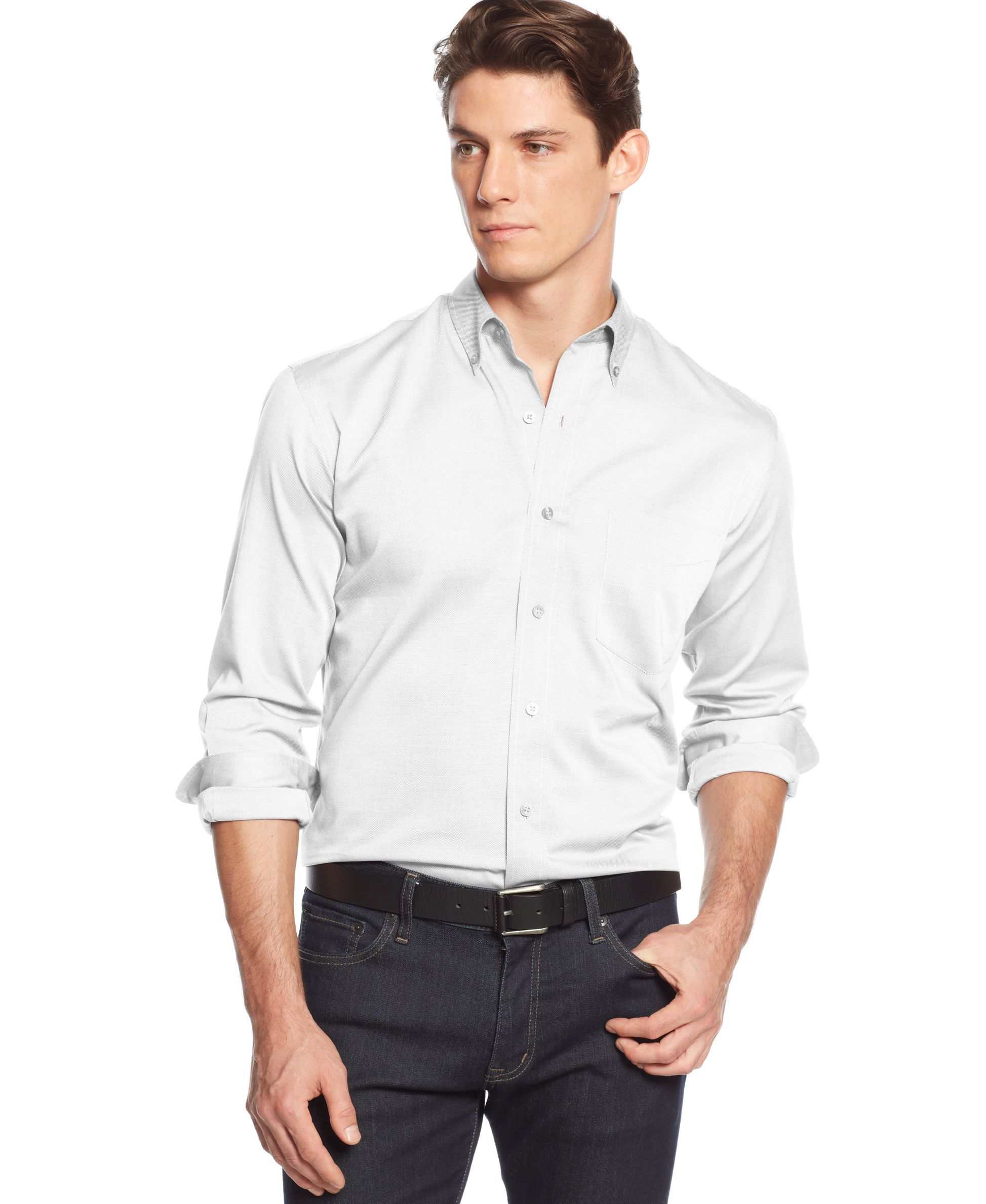 Club Room Solid Wrinkle-Resistant Long Sleeve Shirt