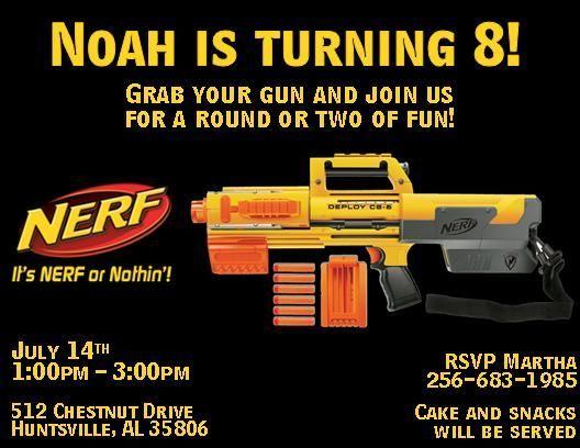 Nerf Party Invitations Template – Nerf Gun Birthday Party Invitations