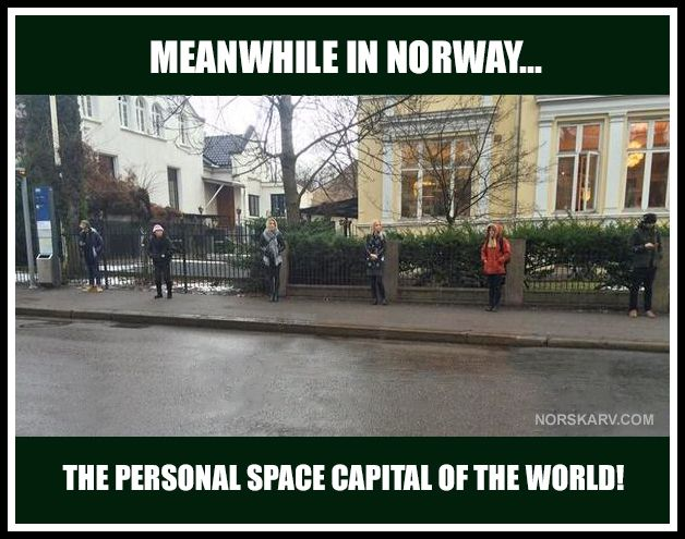 Meanwhile In Norway The Personal Space Capital Of The World Fun Funny Humor Wild Crazy Bus Stop Norge Vitser Morsomme Ting