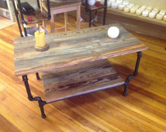 100% Authentic Reclaimed Solid Wood U0026 Iron Pipe Coffee Table