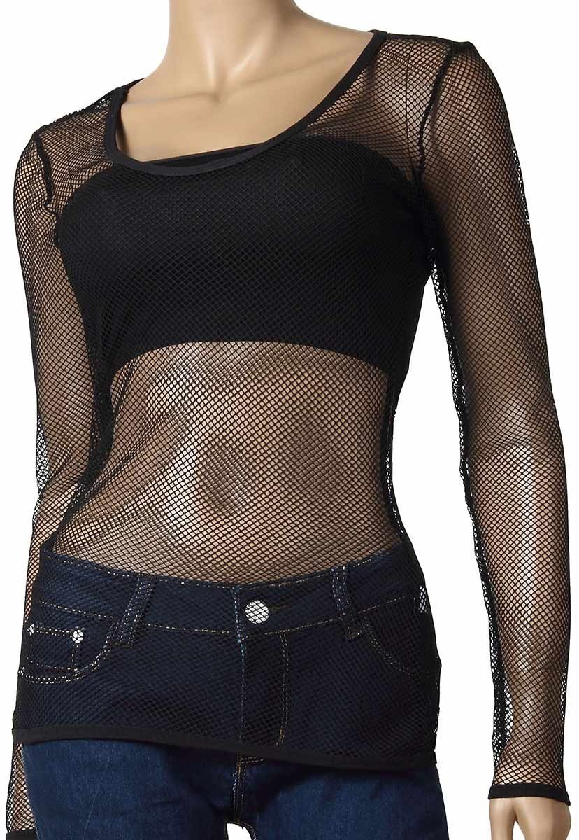 Womens Long Sleeve Mesh Top Small Hole Black Fishnet Blouse Dance Wear  61  - Fishnet-Shirts - 1 df0a43b01