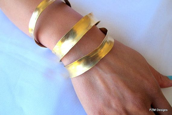 Gold arm cuff anticlastic formed stacking bangle by pzmdesigns, $19.00 #cuff #armband #bangle #bracelet #brass #gold #stacking