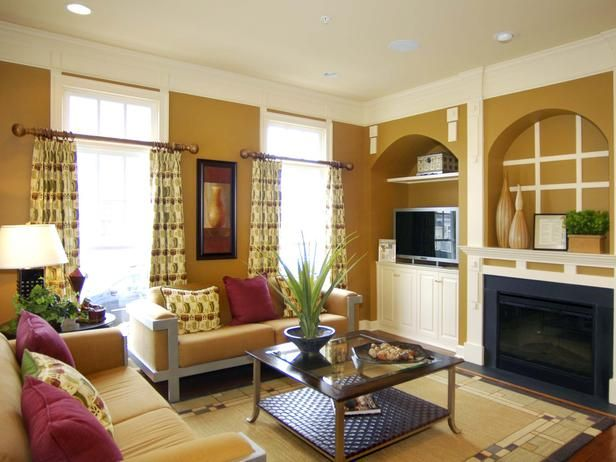45 Living Room Niche Ideas Curved Niches Define The Fireplace And Media Wall Maintain An