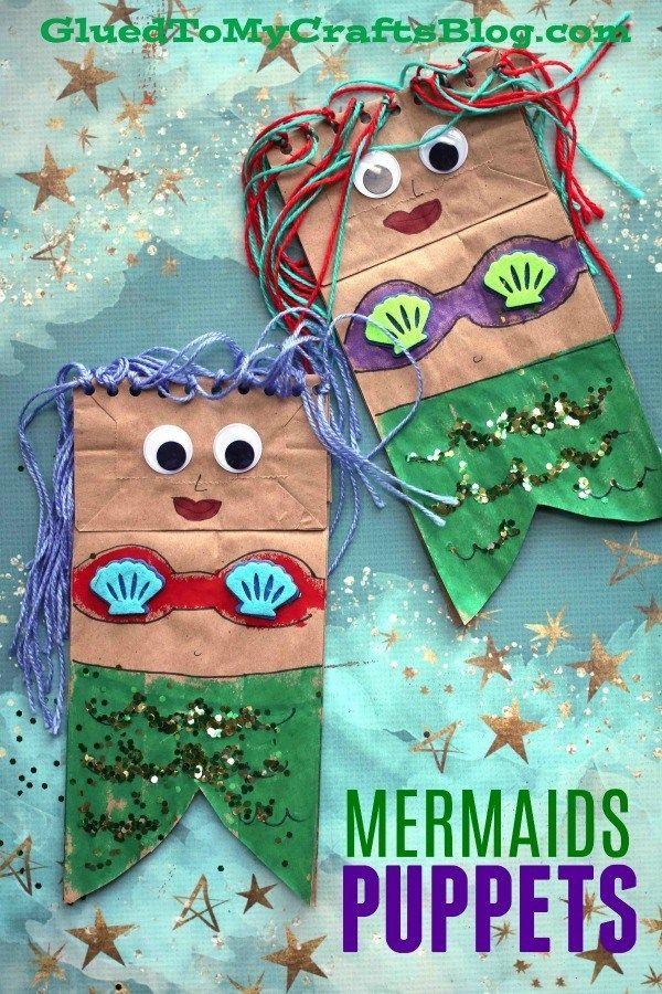 Paper Bag Mermaid Puppets - Kid Craft Idea for Summer Fun - Pretend Play Mermaid Art Project