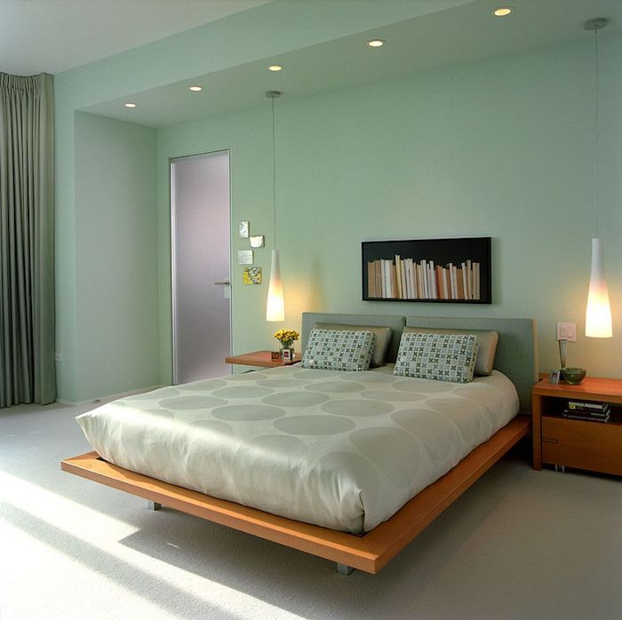 mint programm bed schlafzimmer kissen mint bücherregal farben - bilder für schlafzimmer